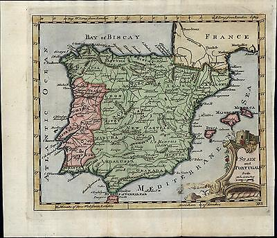 Spain Portugal Madrid Lisbon Barcelona France Biscay c.1760-80 old antique map