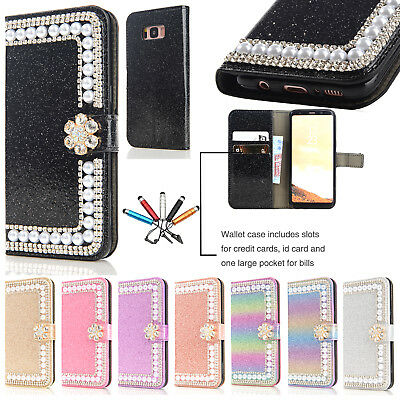 For Samsung S7 S8 + Luxury Bling Card Slot Wallet Magnetic Flip Stand Case Cover