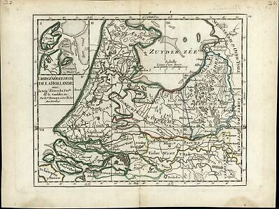 Holland Netherlands Amsterdam Utrecht Low Countries c.1750 old antique map