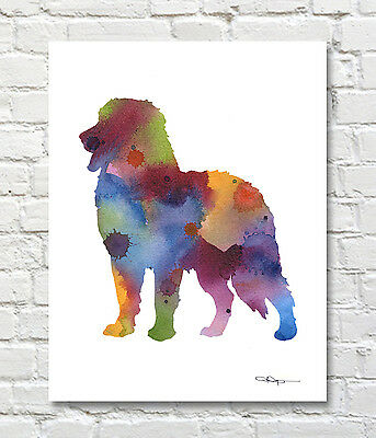 BERNESE MOUNTAIN DOG Contemporary Watercolor Abstract ART Print by Artist DJR