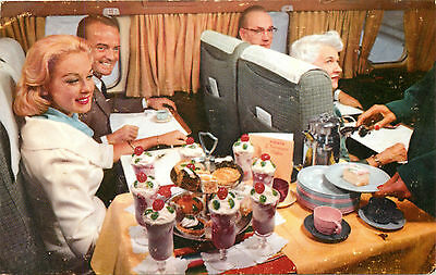 FIESTA DESSERT CART - ~CAL. to MEXICO on WESTERN AIRLINES~ Scarce Postcard, 1960