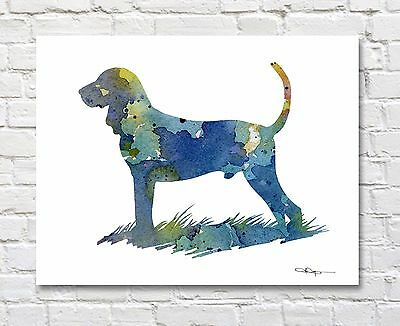 BLACK AND TAN COONHOUND Contemporary Watercolor Abstract ART Print by Artist DJR
