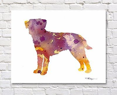 BORDER TERRIER Contemporary Watercolor Abstract ART Print by Artist DJR