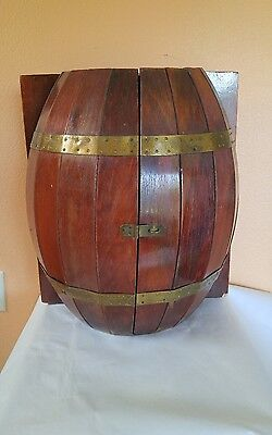 """Vintage Wooden Whiskey Barrel Wall Mini Bar/ Cabinet w/ Brass Accents 18.5"""" tall"""