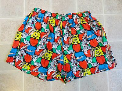 Vtg 1993 LOONEY TUNES Bugs Bunny SILK BOXER SHORTS Hearts Love What's Up Doc 90s