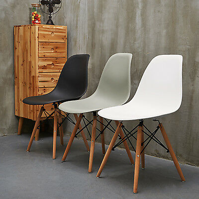Set Of 4 Mid Century Modern Style Dining Side Chair Wooden Leg 3 Color