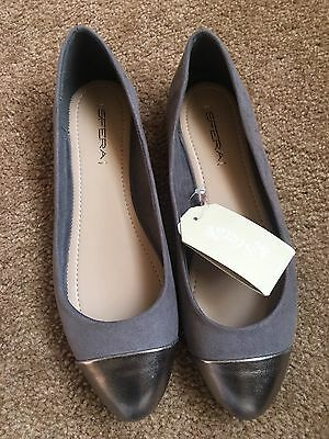 ANN TAYLOR WOMEN'S Gray Silver Patent Leather D'orsay Flats