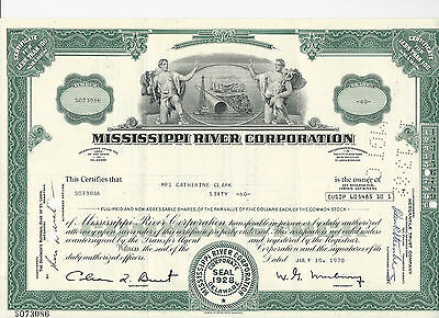 Nice 1970 Mississippi River Corporation Stock Certificate