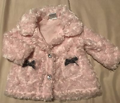 """New """"Mini Muffin"""" Baby Girl Jacket Pink Fuzzy Bows Blingy Buttons Sz 3-6 Months"""