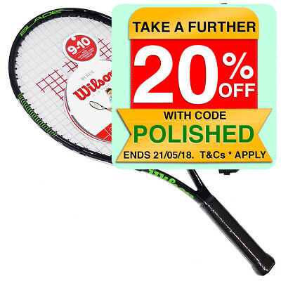 "Wilson 3 7/8 25"" Blade Junior Jr Tennis Racket Racquet w/Case Cover/9-10yr/Black"