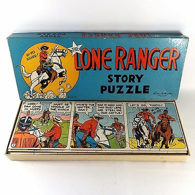 Vintage 1950 Parker Brothers The Lone Ranger Story Puzzle Original Box Complete