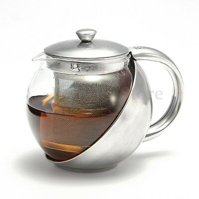500ml Stainless Steel Glass Tea Pot TeaPot With Loose Tea Leaf Infuser Strainer