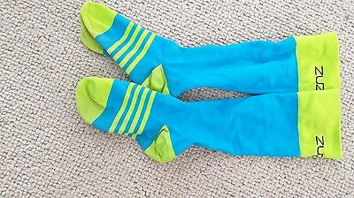RMR Turquoise and Lime Running Compression Socks, Size Large