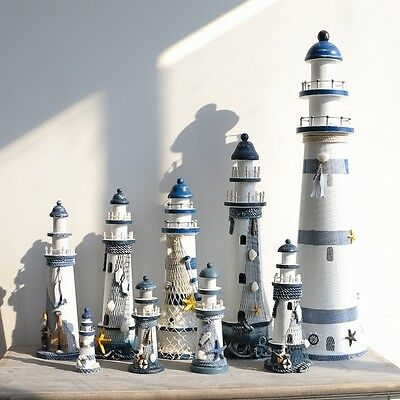 New Nautical Decoration Wooden Lighthouse Home Furnishing Ornaments Light Tower