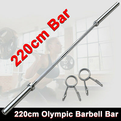 Olympic 2.2M Weight Lifting Bar Solid Chrome Gym Home Exercises Barbell Bar