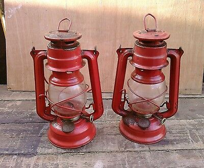 Matching Pair Of Vintage/meva Paraffin Lamps/great Used Ornamental Look.