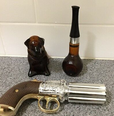 3 Vintage Avon Aftershave Decanter Bottles Pistol Gun, Dog, Pipe With Fragrance