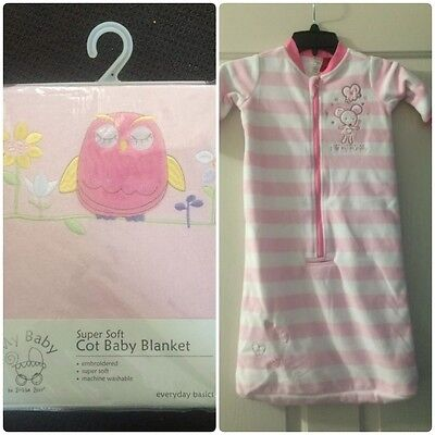 Pink Cot Blanket And Size 00 Sleeping Bag/sack NEW