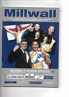 2000/1 Millwall v Oldham Athletic (Special Promotion edition) Football Programme