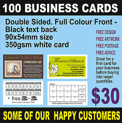 100 Business Cards  Full Colour Print Front Black Back - Quality White Card