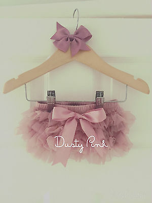 Baby Girls Frilly Tutu Knickers & Bow Clip Dusty Pink Cake Smash Outfit Prop