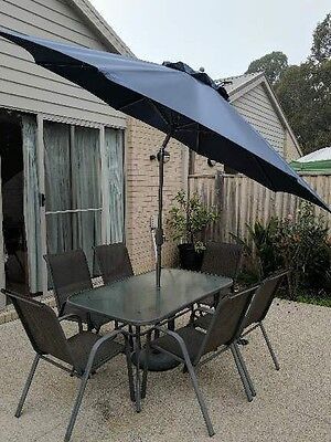 Outdoor Table and 6 Chairs with Umbrella