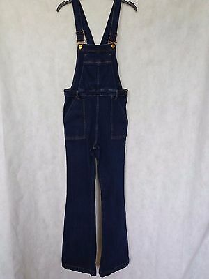 R63 Womens River Island Blue Stretch Bootcut Overalls Dungarees Uk 12 W30 L32