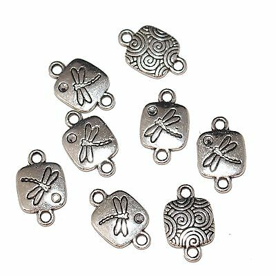 Dragonfly Links/Connectors Antique Silver x 8 (3027)