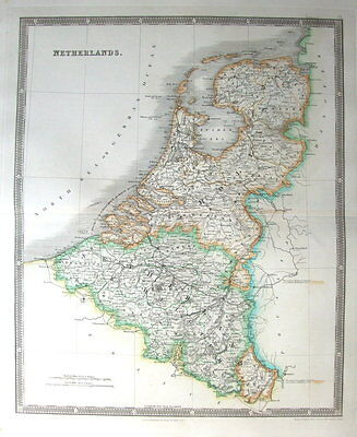 THE NETHERLANDS,  Teesdales Original Hand Coloured Antique Map 1841