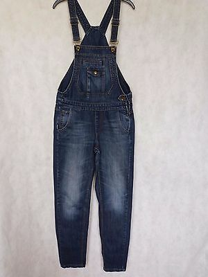 R71 Womens Asos Faded Blue Denim Tapered Overalls Dungarees Uk 12 W32 L31