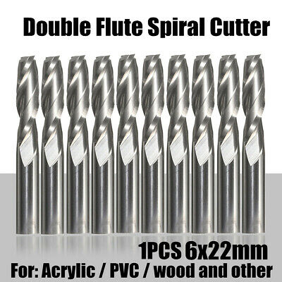 Double Flute Spiral Cutter CNC Router Bits Drill For Wood Acrylic PVC 6x22mm