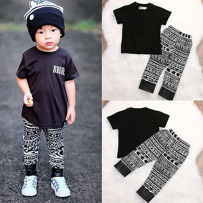USA Newborn Toddler Baby Boys Short Sleeve T-shirt Top+Pants Outfit Clothes 1-6T