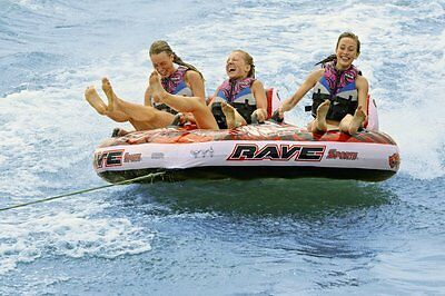 Rave Sports 3 Person Warrior Boat Towable Water Ski Tube Boat Lake Inflatable