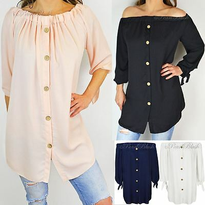 Womens Ladies Off The Shoulder Bardot Button Shirt Dress Top Size