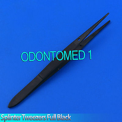 Full Black Splinter Surgical Medical Veterinary Nursing Forceps Tweezers 4.5""
