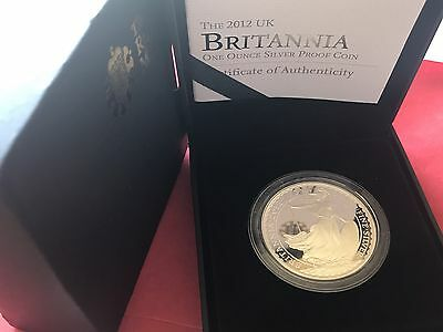 2012 Royal Mint 1oz Silver Proof Britannia £2 Two Pounds Coin Boxed & COA