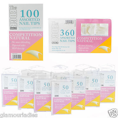 THE EDGE NAILS COMPETITION NATURAL Well Less False Nail Tips  x 50, 100 or 360