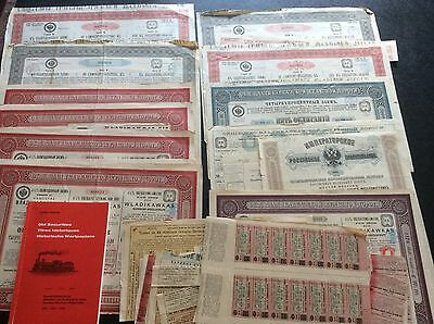 Russian - Old Securities Book & Large  Lot of Antique Bonds Stock Certificates