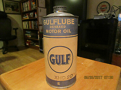 NICE GULF GULFLUBE MOTOR METAL/PAPER LABEL Oil Can 1 LITER