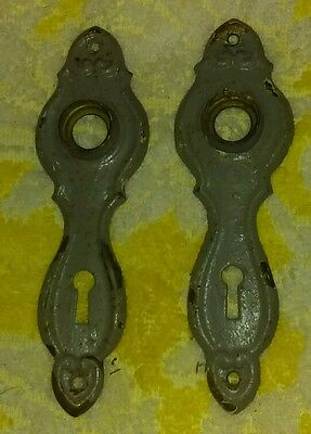 A Pair of Old Gray Chippy Paint Door Back Plates