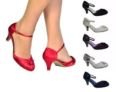 Womens Satin Ruched Front Mid Kitten Heel Ankle Strap Full Toe Shoes Wedding 3-9