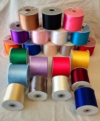 Satin Sash Ribbon Reels - 50 metres (100mm Wide) for All Occasions. 25 Colours