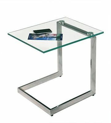 Yolanda Tempered Clear Glass Top Side Coffee Lounge Chrome Table *Top Condition*