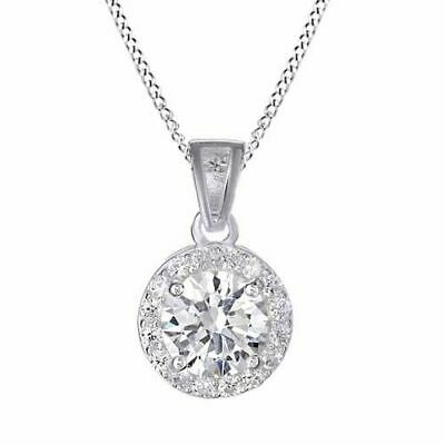 Summer Sale Cubic Zirconia Halo Pendant 14k White Gold Over Sterling Silver