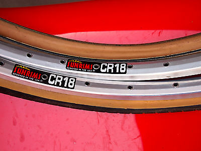 New SUN CR18 Rims 32h/40h pair 650A 590mm  2 New Panaracer Gumwalls 26 x 1 3/8""