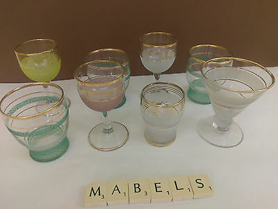 RETRO KITSCH ~SUGAR FROSTED~ sherry liqueur glasses x 8