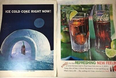 Lot of 2 VINTAGE PRINT AD 1962 Coca-Cola Refreshing New Feeling Ice Cold Coke