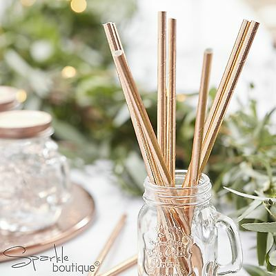 METALLIC ROSE GOLD PAPER STRAWS x25 - Great for Hen Party / Wedding / Birthday