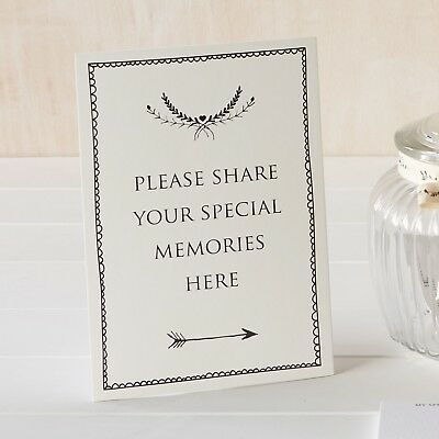 'Share Your Memories Here' Ivory Card Sign - Funeral Condolence Book - Free P&P