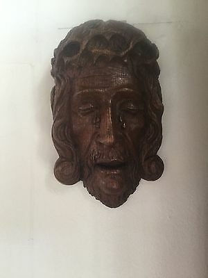 wooden statue  wood carved corpus christie jezus jesus head 17th 18th century